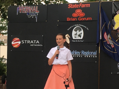 Riley Hutcheon performs her 50s song in costume